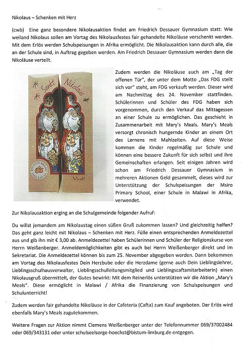 201712_Nikolaus Aktion Schulseelsorge